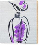 Purple Perfume Bottle Wood Print
