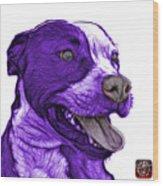 Purple Pit Bull Fractal Pop Art - 7773 - F - Wb Wood Print