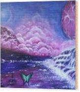 Purple Planet Wood Print