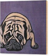 Purple Pug Wood Print