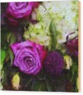 Purple Roses With Hydrangea Wood Print