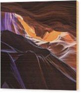 Purple Shadows To Golden Light Wood Print