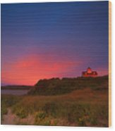Purple Sky Over Coast Guard Eastham Wood Print