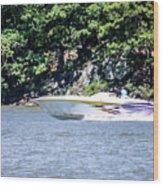 Purple Speed Boat Wood Print