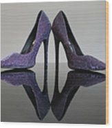 Purple Stiletto Shoes Wood Print