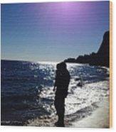 Purple Sun Evening Beach Wood Print