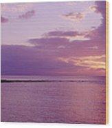 Purple Sunset At Kapalua Beach Wood Print