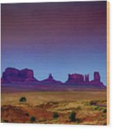 Purple Sunset In Monument Valley Wood Print