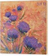 Purple Thistles Wood Print