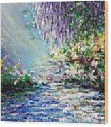Purple Tree By The Lake Wood Print