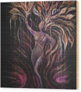 Purple Tree Goddess Wood Print