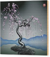 Purple Tree In Water 2 Wood Print by GuoJun Pan