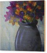 Purple vase and flowers Wood Print