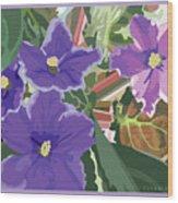 Purple Violets Wood Print