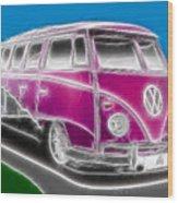 Purple Vw Bus Wood Print