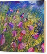 Purple Wild Flowers  Wood Print