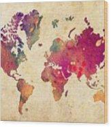 Purple World Map Watercolor Print  Wood Print