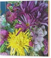 Purple Yellow Flower Mix Wood Print