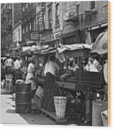 Pushcart Market, 1939 Wood Print