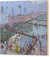 Pushkar Ghats Rajasthan Wood Print