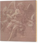 Putto And Angel Holding A Banderole, 1706  Wood Print