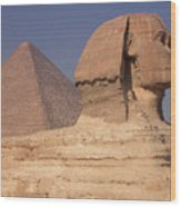 Pyramid And Sphinx Wood Print