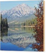 Pyramid Mountain Reflection 3 Wood Print by Larry Ricker