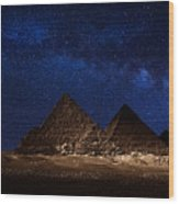 Pyramids Milky Way Wood Print