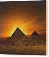 Pyramids Sunset Wood Print