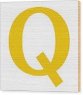 Q In Mustard Typewriter Style Wood Print