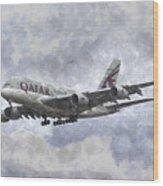 Qatar Airlines Airbus And Seagull Escort Art Wood Print