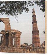 Qtub Minar, New Delhi India Wood Print
