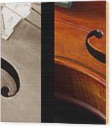 Quadriptych Of Musical Curves Wood Print