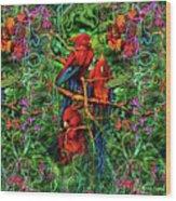 Qualia's Parrots Wood Print