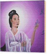Quan Yin With Three Dragonflies Wood Print
