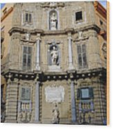 Quattro Canti In Palermo Sicily Wood Print