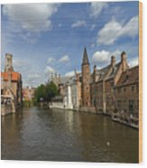 Quay Of The Rosary In Bruges Belgium Wood Print