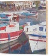 Quay On The Island Of Crete Wood Print