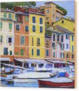 Quayside At Portofino Wood Print