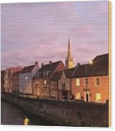 Quayside Rosy Sunlight Wood Print