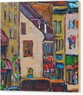 Quebec City Street Scene  Caleche Ride Wood Print