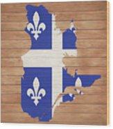 Quebec Rustic Map On Wood Wood Print