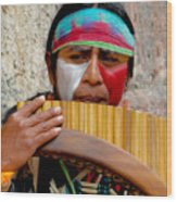 Quechuan Pan Flute Player Wood Print