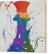 Queen Chess Piece Paint Splatter Wood Print