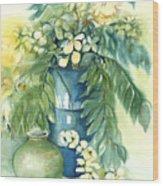 Queen Emma In Blue Vase Wood Print