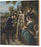 Queen Isabella And Columbus Henry Nelson Oneil Wood Print