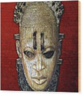 Queen Mother Idia - Ivory Hip Pendant Mask - Nigeria - Edo Peoples - Court Of Benin On Red Velvet Wood Print by Serge Averbukh