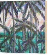 Queen Palm Bay View  Wood Print