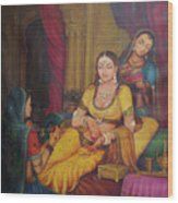 Queen Princess Sitting  Dressing From Her Maids Kaneej  Royal Art Oil Painting On Canvas Wood Print