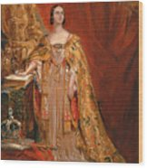 Queen Victoria Taking The Coronation Oath 28 June 1838 Wood Print
